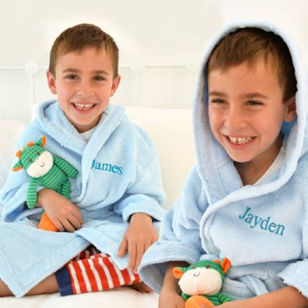 Personalised Twins Soft Child's Dressing Gowns In Blue
